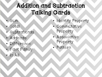 Math Conversation Cards