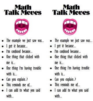 Math Conversation Starters Bookmark (Perfect for Talk Moves)