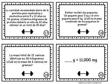 Math Conversions *Foldable & Task Cards* SPANISH