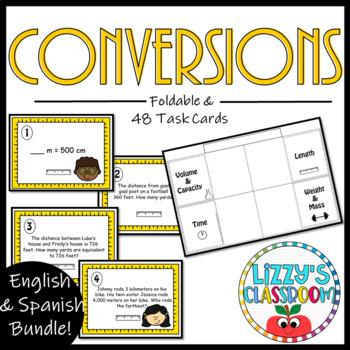 Math Conversions *Foldable & Task Cards* English and Spanish Bundle*