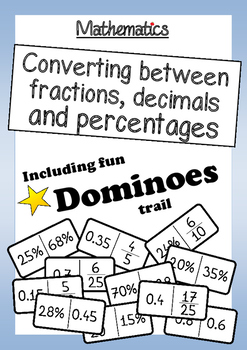 Math: Converting Between Fractions, Decimals and Percentages + Domino Trail Game