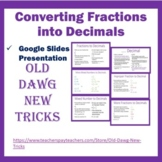 Math: Converting Fractions into Decimals Google Slides Presentation