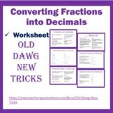 Math: Converting Fractions into Decimals Worksheet