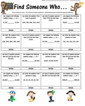 Math -Compare & Order Numbers - 7 Cooperative Learning Structures