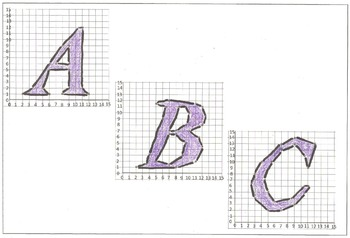 Math Coordinate Plane Graphing Pictures:  Alphabet Letter Set