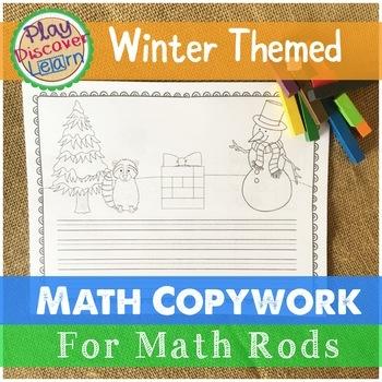 Math Copywork for Math Rods   Winter Themed