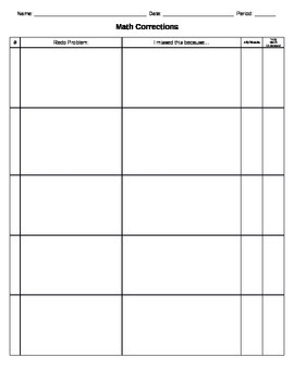 Math Corrections Paper