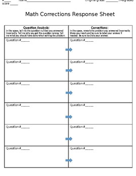 Math Corrections Response Sheet