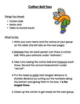 Math- Cotton Ball Toss, Measurement