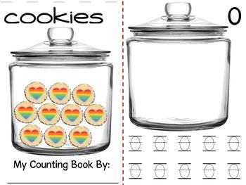 Math Counting Book: Cookie Jar - Rainbow Hearts
