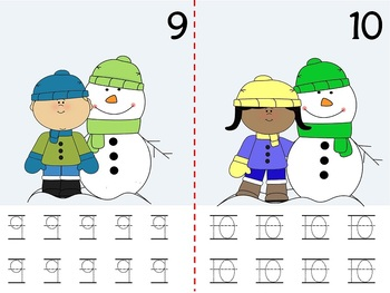 Math Counting Book: Snowmen and Kids