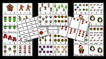 Math Counting Cards & Activities 1 - 10 Bundle / Fall & Christmas / Hands-on