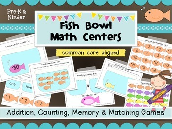 Fish Bowl 6 easy prep Math Centers- Game mats for addition and counting