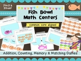 Fish Bowl 6 easy prep Math Centers- Game mats for addition