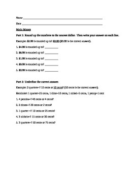 Math: Counting Money Worksheet