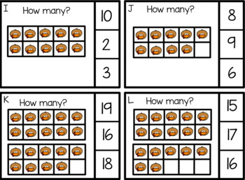 Math Counting With Ten Frames Task CardsThrough 20