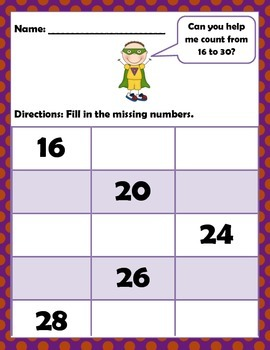 Math: Counting to 105: Number sequencing Level 2: Pre-k, K, 1st & 2nd Grade.