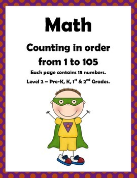 Math: Counting to 105: Number sequencing Level 2: Pre-k, K