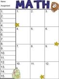 Math Cover Sheet
