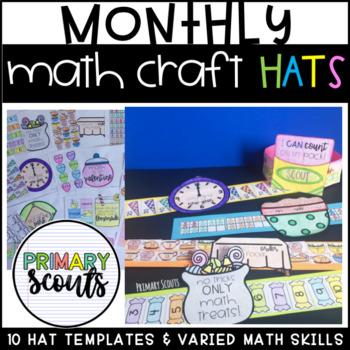 Monthly Math Craft Hat (Editable) - Year Long Bundle