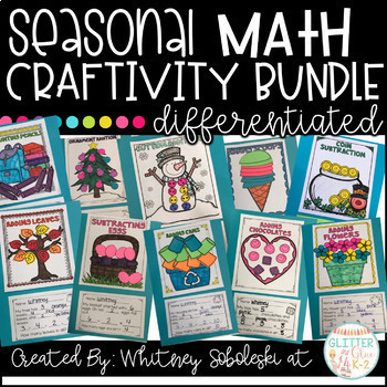 Math Craftivity Bundle: Includes 12 Seasonal Math Crafts!