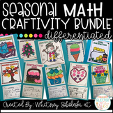 Math Craftivity Bundle: Includes 12 Seasonal Math Crafts!