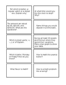 Math Creative Thinking Cards