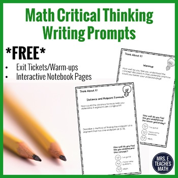 Math Critical Thinking Journal Prompts