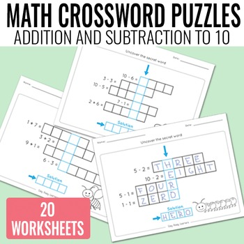 Math Crossword Puzzles Addition and Subtraction to 10 Worksheets