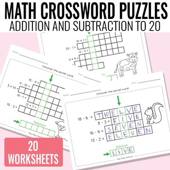 Math Crossword Puzzles Addition and Subtraction to 20 worksheets