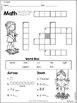 1st Grade Math Crossword Puzzles - September