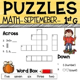 1st Grade Math Crossword Puzzles - September