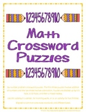 Math Crossword Puzzles using Addition and Subtraction Problems