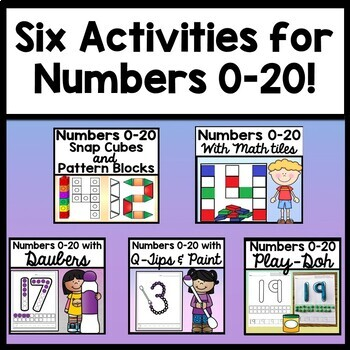 Kindergarten Math Centers with Snap Cube Numbers {21 Number Activity Pages 0-20}