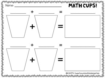 Math Cups! Free Recording Pages