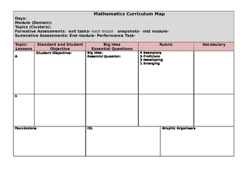 Math Curriculum Mapping Template