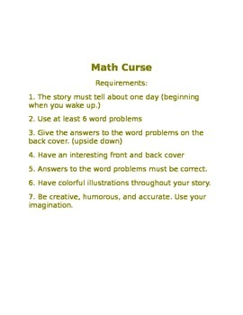 Math Curse Follow-Up