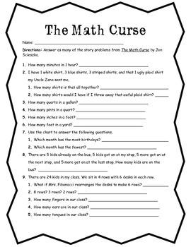 Math Curse Worksheet