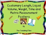 Measurement: Customary Length, Volume, Weight, and Time and Metric Posters