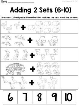 Math- Cut & Paste- Add 2 Sets- Aussie Animals