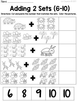Math- Cut & Paste- Add 2 Sets- Bugs