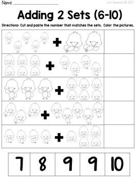 Math- Cut & Paste- Add 2 Sets- Chickens