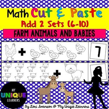 Math- Cut & Paste- Add 2 Sets- Farm Animals & Babies
