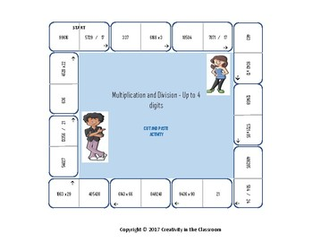 Math Cut and Paste Activity - Multiplication and Division - Up to 4 Digits