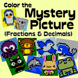 Math Cute Animals Mystery Pictures - Fractions and Decimals pack