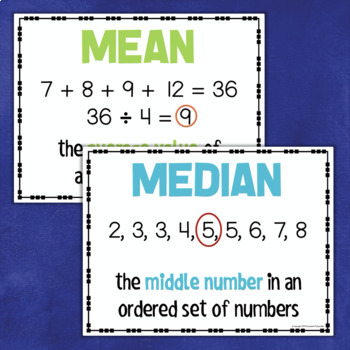 Math DATA Posters - Mean Median Mode Range Frequency Outlier