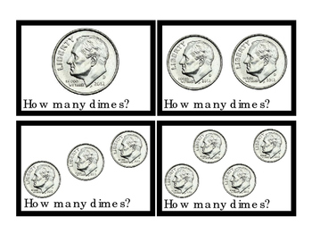 Math DIMES How Many Addition Numbers To 10 Printable Flash-Cards 3pages