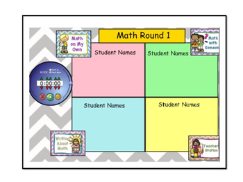Math Daily 3 Rotation Timer and Grouping Display (Part of a Bundle)