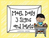 Math Daily 3 signs and labels