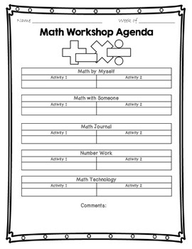 Math Daily 5 Check in Sheet